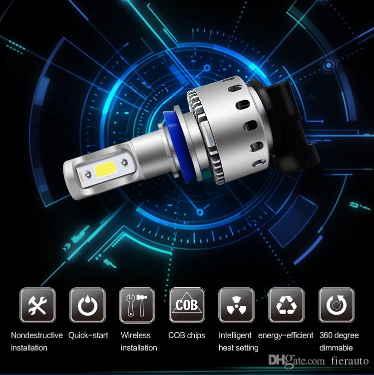 360 degree H4 H7 H11 H1 H13 H3 9004 9005 9006 9007 9012 COB LED Car Headlight Bulb Hi-Lo Beam 96W 9600lm 6000K Auto Headlamp 12v 24v