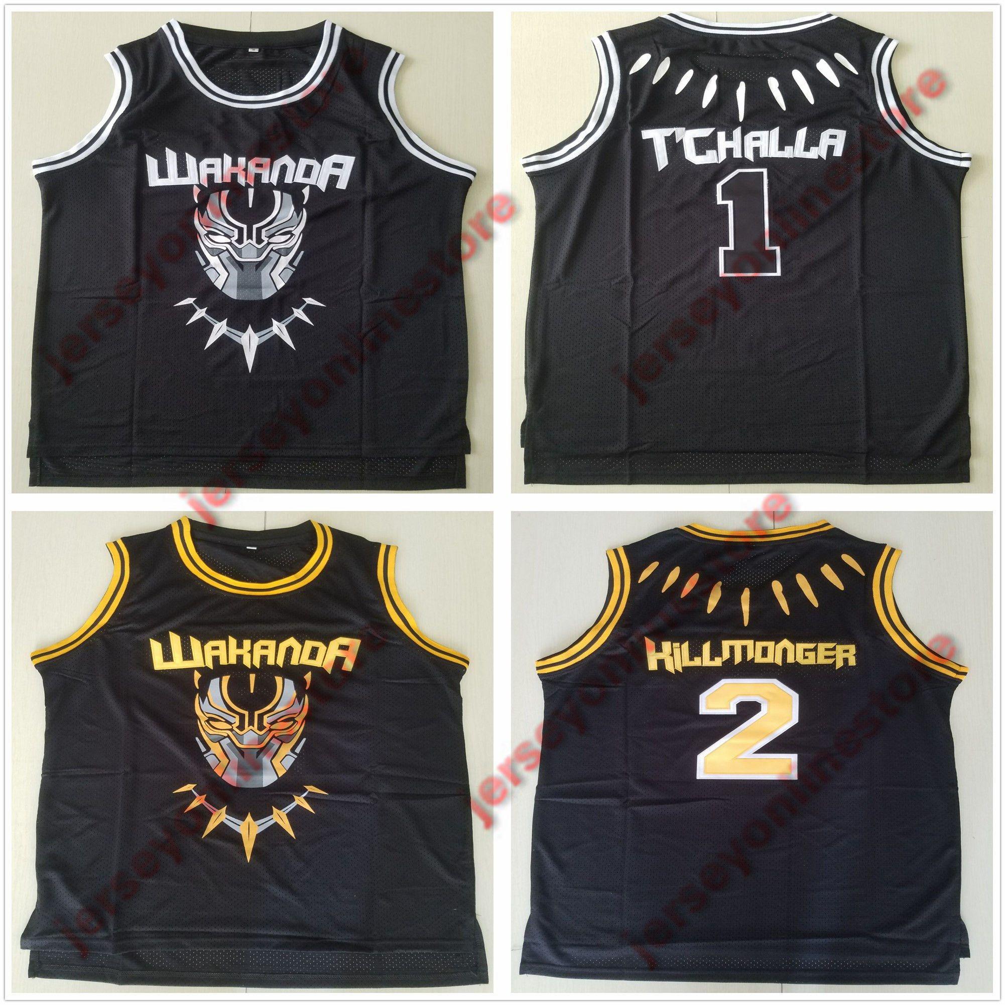 1cd1d4f1bd1 Mens The Black Panther Movie Wakanda T'Challa Jersey Black Stitched #2 Erik Killmonger  Basketball Jerseys Top Quality