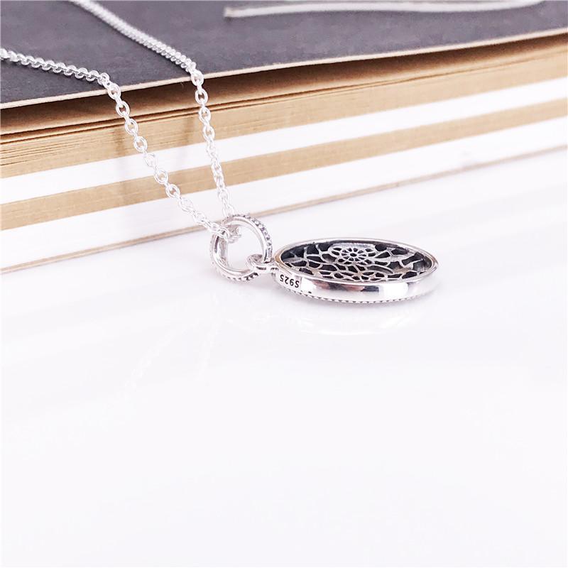 Floral Daisy Lace Necklace Auténtica Plata de Ley 925 con claro Circonita Cúbica DIY Joyería Fina 390383-60 Charm necklace
