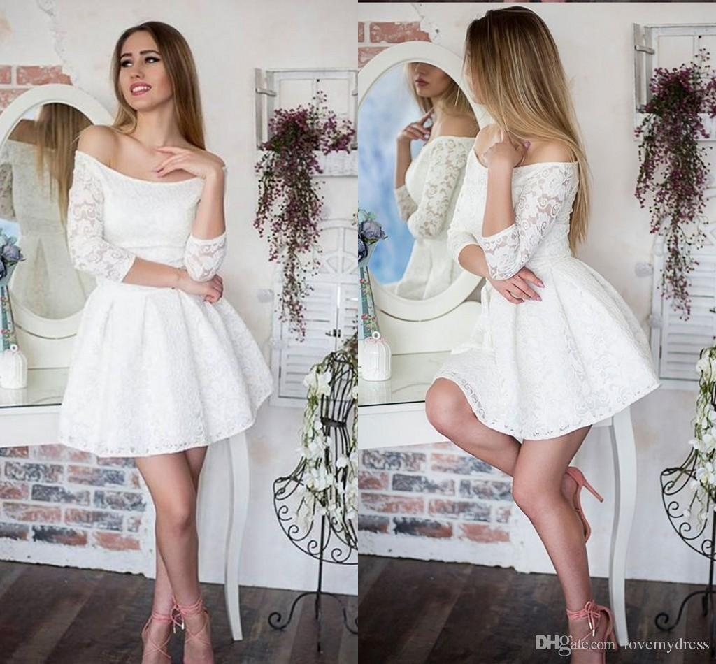 ce35beb84e 2018 White Elegant Short Homecoming Prom Dresses Lace A Line Off The  Shoulder 3 4 Sleeves Graduation Party Evening Dress Gowns Girl Homecoming  Dresses ...
