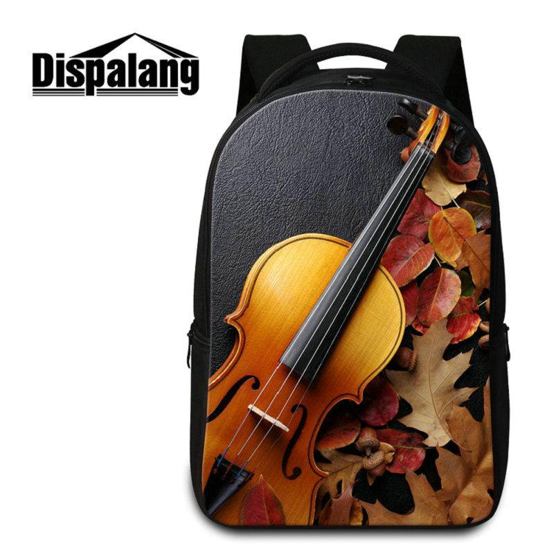 Dispalang Art Backpack And Pencil Cases Violin Guitar Print School Bookbag Women Children Personalized Back Pack Ballet Mochilas Crazy Price Men's Bags Backpacks