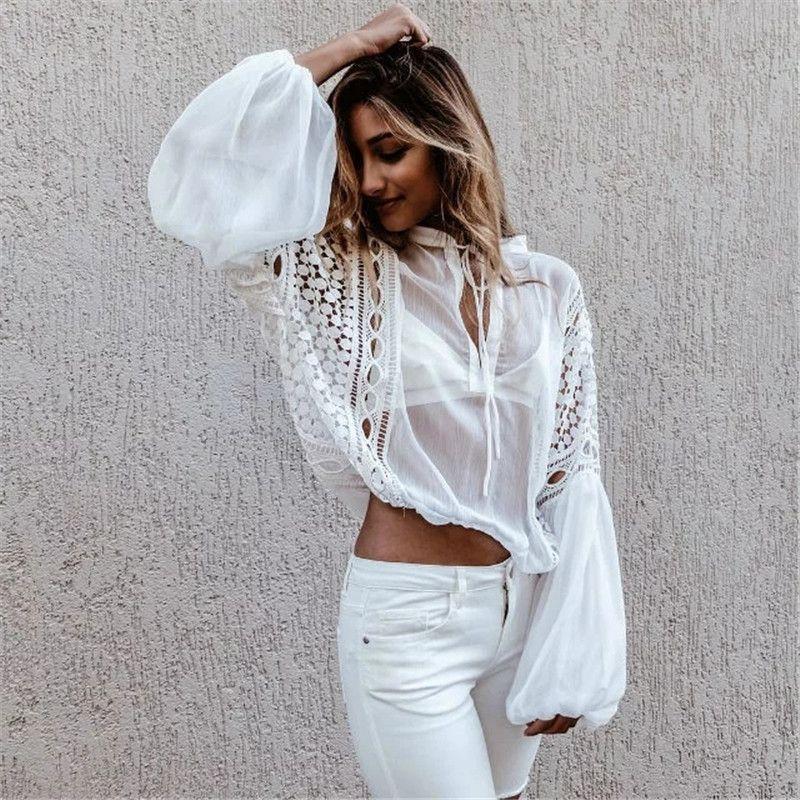 a93fc63dd0d HLMFS Sexy Lace Flower Blouse Shirt Hollow out Mesh Transparent ...