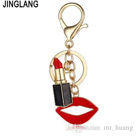 JINGLANG Fashion Gold Color Metal Keyring Dangle Red Enamel Lipstick Mix Mouth Charms Keychains For Women Luxury Handbag Jewelry