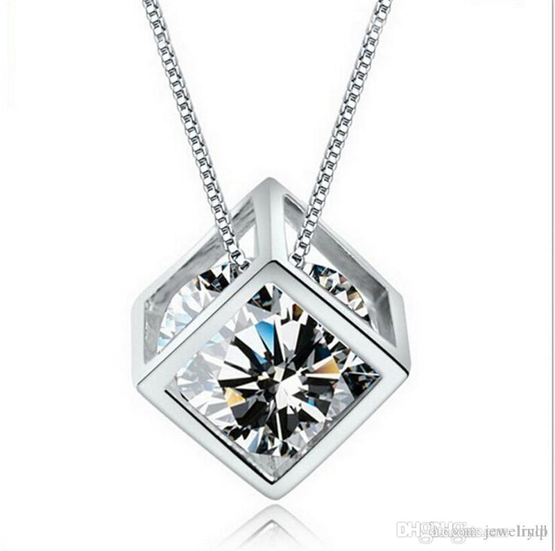2015 Fashion 925 Sterling Silver Box Chain Austria CZ Diamond Crystal Love Magic Cube Square Shape Pendant Necklace For Women Wedding Gift