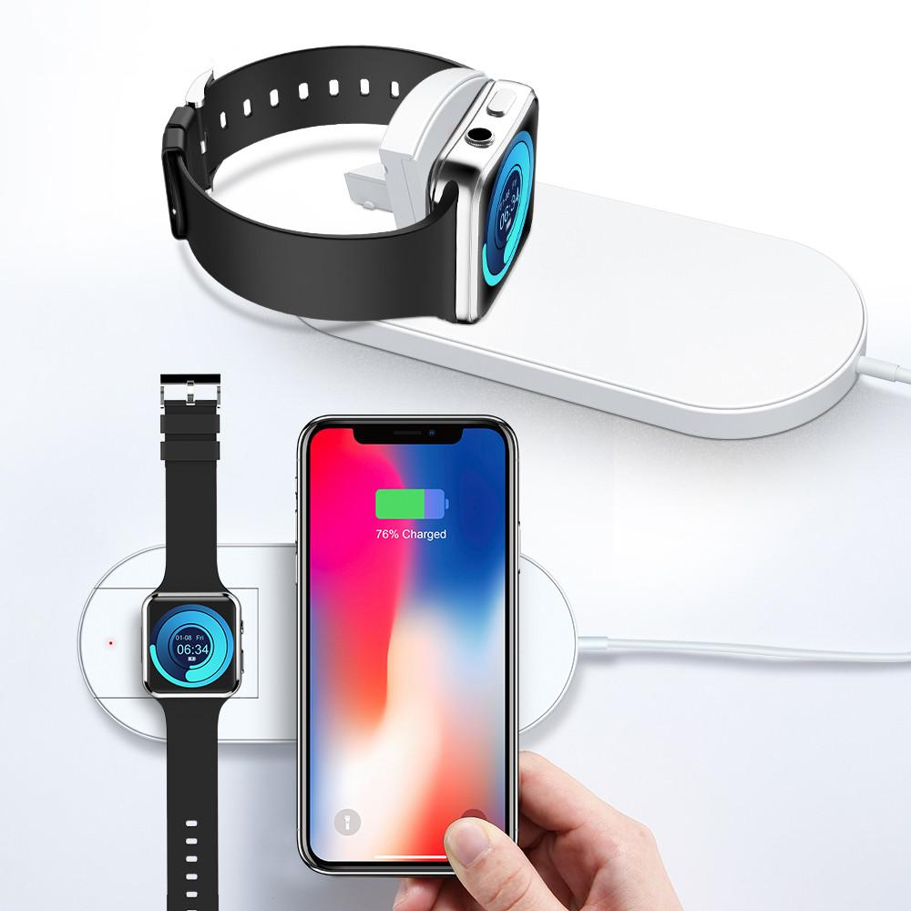 the best attitude 296ea 83d25 2 In 1 Qi Fast Wireless Charger Fast Charging For Apple Watch 3 iWatch  Iphone X Xr Xs Max 8 plus Pad Dock Phone Adapter