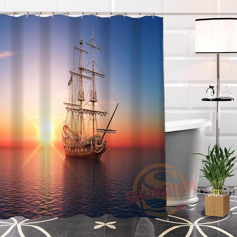 2019 Popular Sea Ocean Boat Paintings Shower Curtain 100 Polyester Custom Fabric Modern Bathroom Waterproof New Arrival From Williem 4299