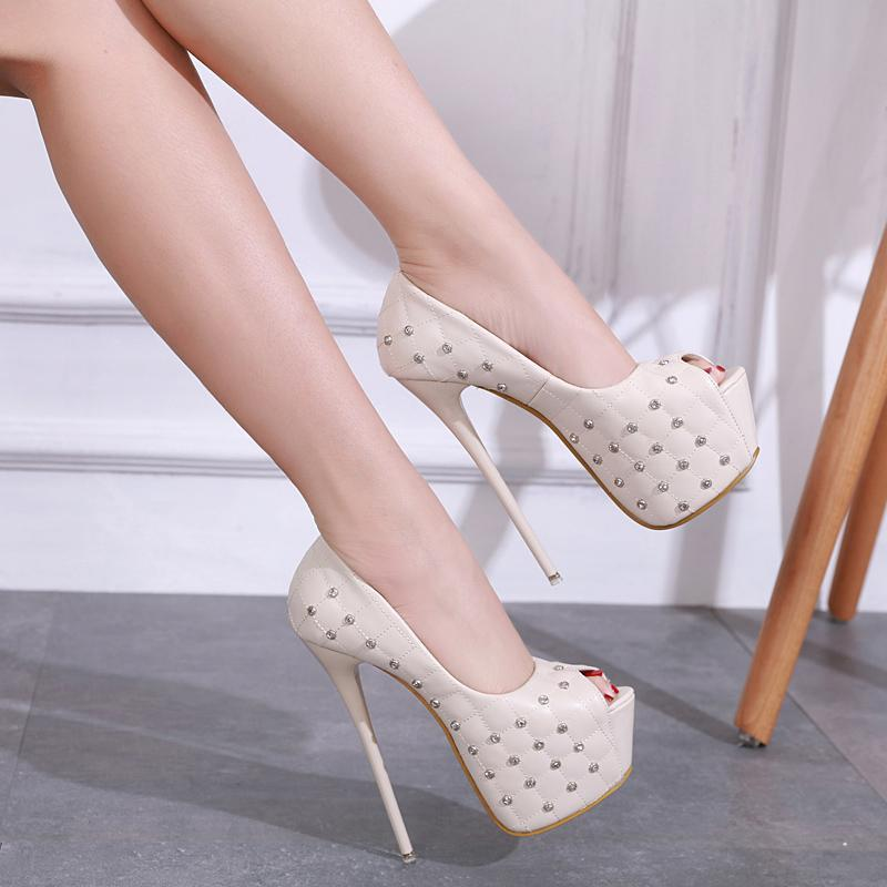 Compre 2018 Nueva Moda Para Mujer Remaches Plataforma Estilete Tacones Altos  Con Punta Abierta 16 Cm Mujer Zapatillas Zapatos De Fiesta De Boda A  48.07  Del ... 6f828ad95ac0