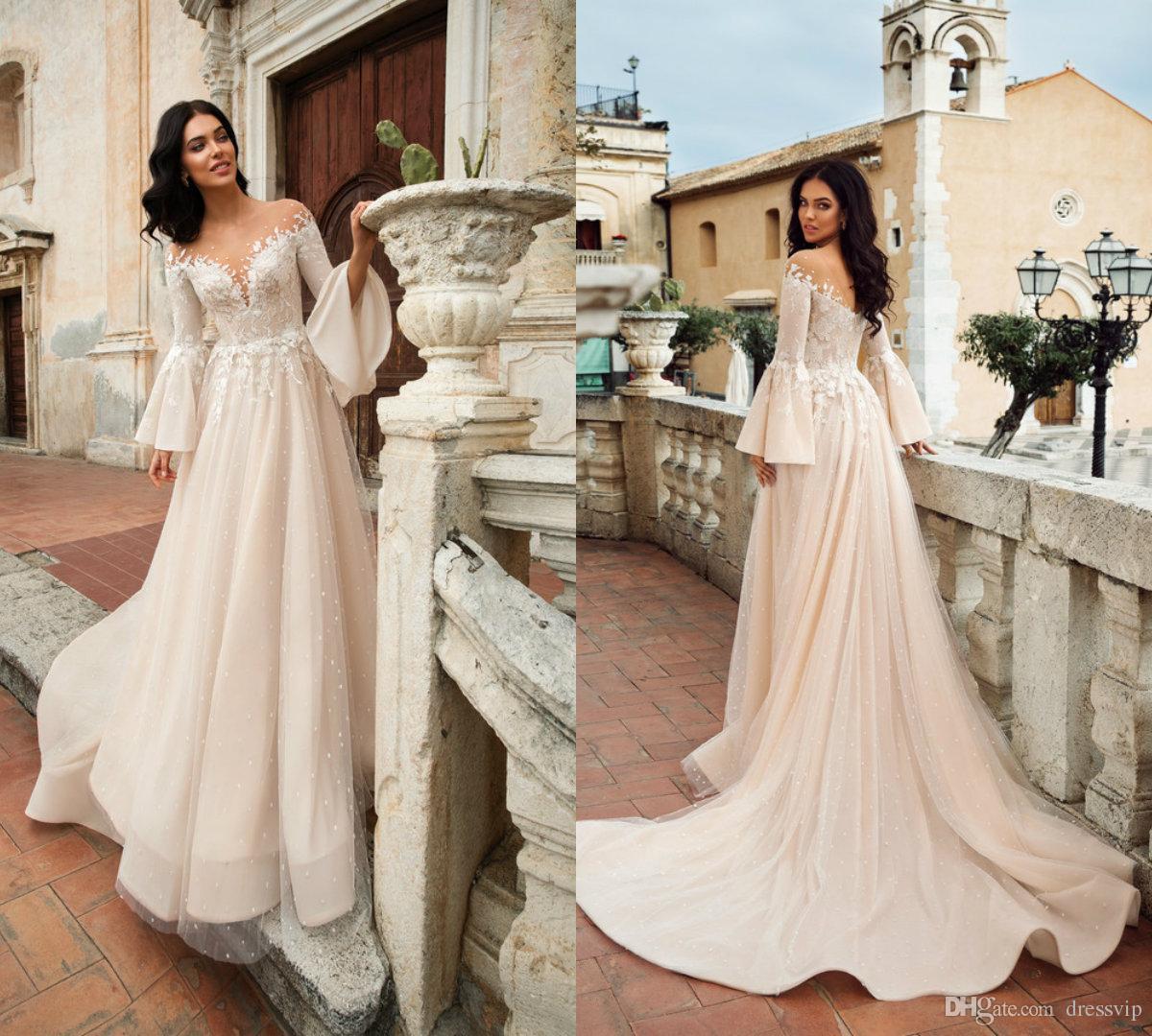 2018 Beach Wedding Dresses Sheer Jewel Neck Lace Applique Long Sleeve Boho  Bridal Dress Sweep Train Elegant Plus Size Wedding Gowns