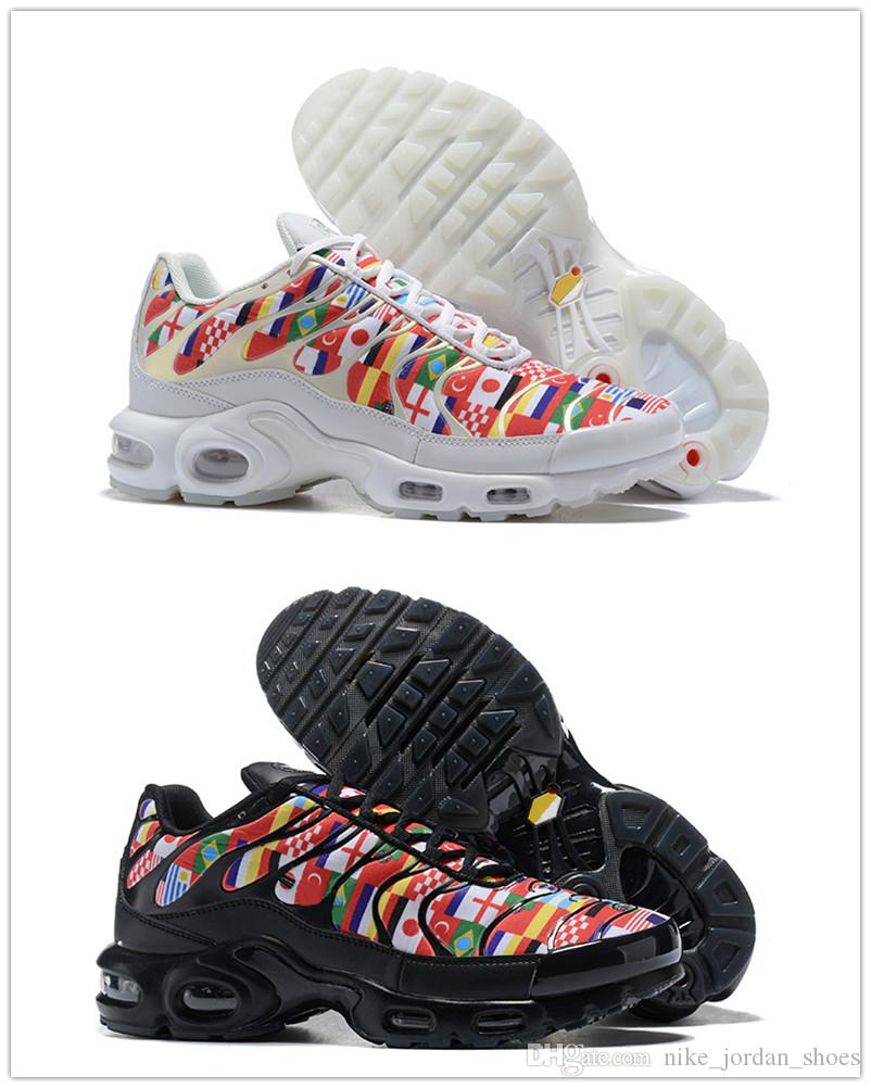 big sale 41967 7cfe7 2018 World Cup TN Plus International Flag Pack Men Women Running Shoes  Black White/Multi-Color Designer Sports Sneakers size 5.5-12
