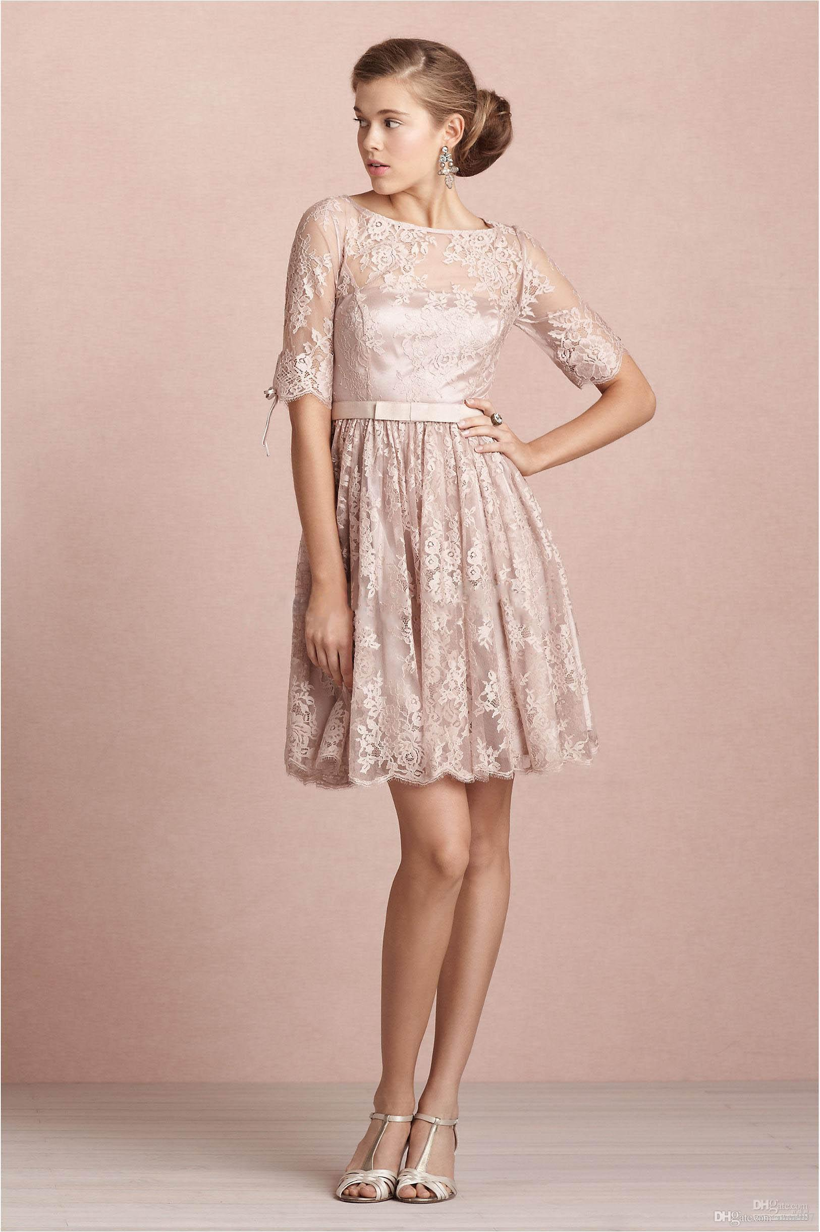 Compre Media Manga Tea Length Rose Rosa Encaje Corto Vestidos De ...