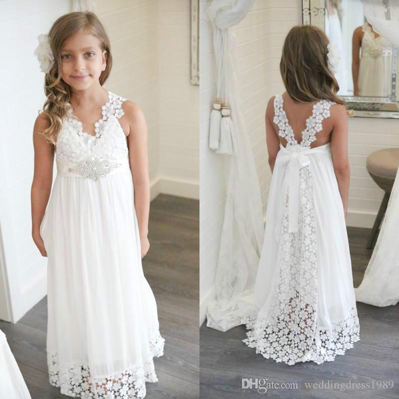 a75729643 Simple Lace Chiffon Girls Pageant Dress Bead V-Neck Floor Length 2018 Girl  Communion Dress Kids Formal Wear Flower Girls Dresses for Wedding