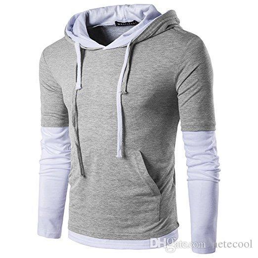 Casual Slim Fit Hommes manches longues T-shirt avec capuche / Sweats à capuche Hauts pour hommes Slim Hauts pour hommes Solide Couleur Brochage