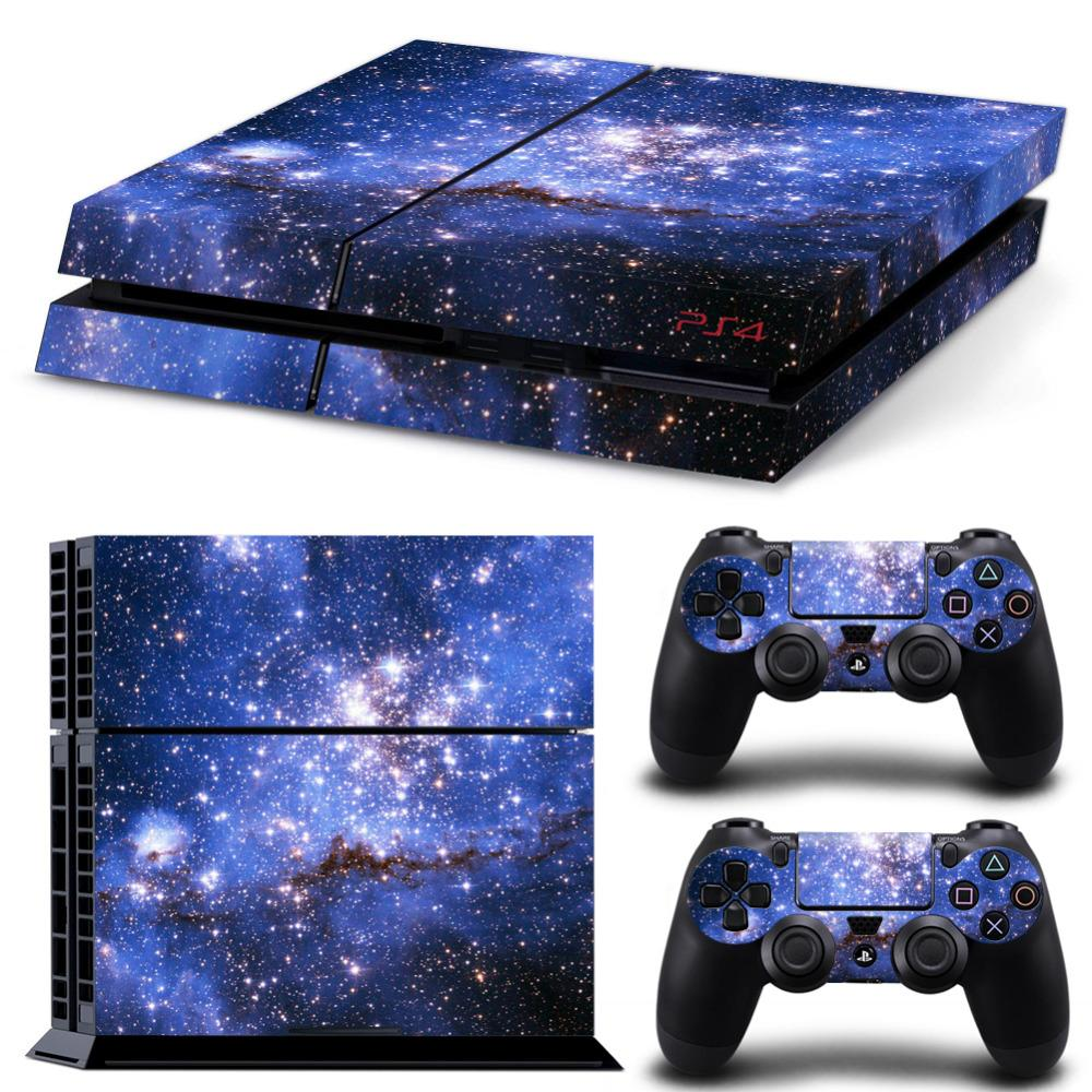 2019 galaxy star vinyl skin sticker cover for sony ps4 console with 2 controllers decal for playstation 4 for dualshock 4 gamepad from family angel