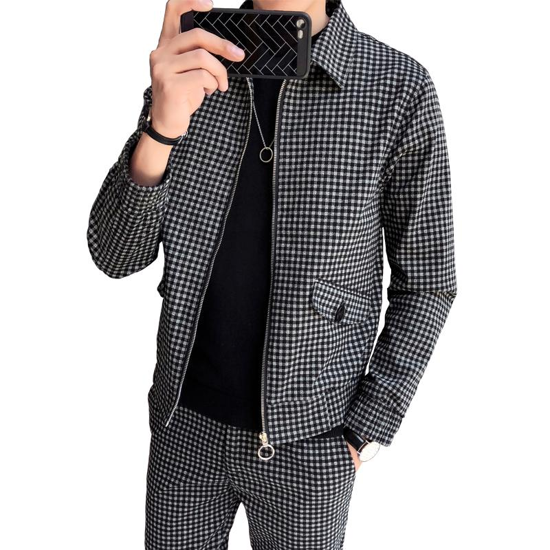 af09fd8b1 Autumn England Youth Small Plaid Jacket Male Trend Dress Korean Version Of  The Slim Handsome Wild Casual Groom Suit Biker Jackets Mens Coats And  Jackets ...