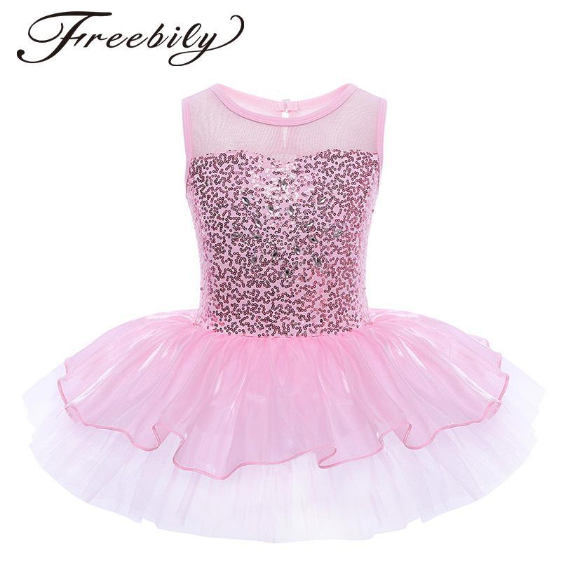 ab45681b872b3 2019 Teen Girls Sequined Flower Dress Dancewear Gymnastic Ballet Leotard  Tutu Dress Sleeveless Ballerina Fairy Prom Party Costume From Honey333, ...