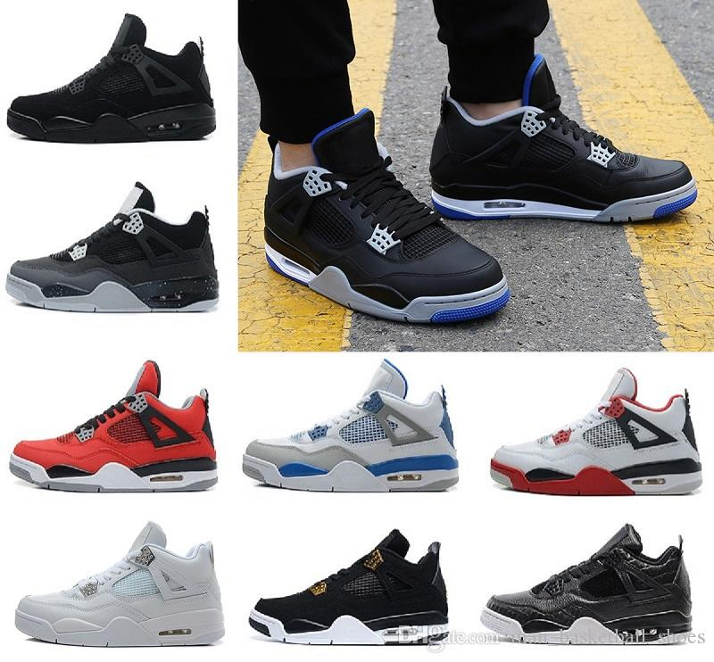 ef68a46747dfeb 2018 Basketball Shoes 4 4s Pure Money Mens Shoes White Cement Royalty Alternate  Motorsport Fire Red Motosports Blue Black Cat Sport Sneakers Shoes Sale ...
