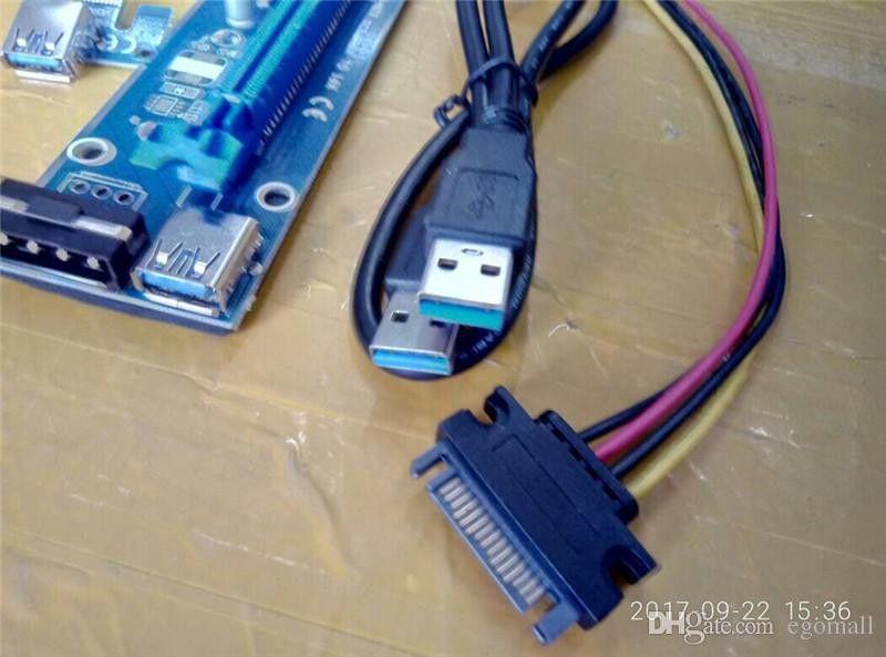 PCIe PCI-E PCI Express Riser Card 1x to 16x USB 3.0 Cable SATA to 4Pin IDE Molex مزود طاقة لآلة BTC