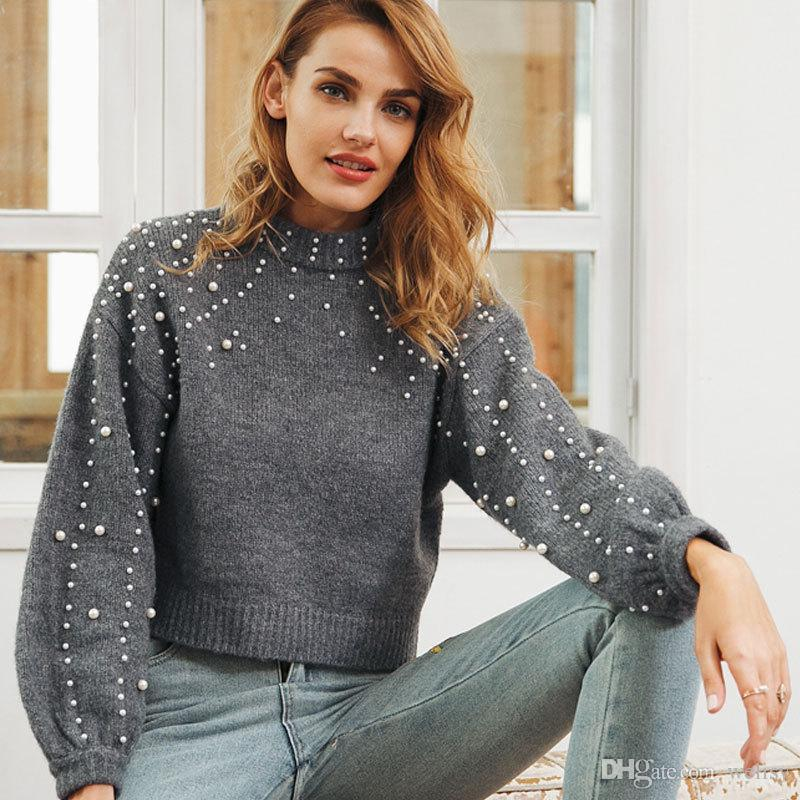 2019 Future Time Pearl Sweater Beaded Knit Jumper Winter Womens Pullover  Sweaters Grey Stand Collar Long Sleeve Tight Sweater MY207 From Welisy 2359c7484