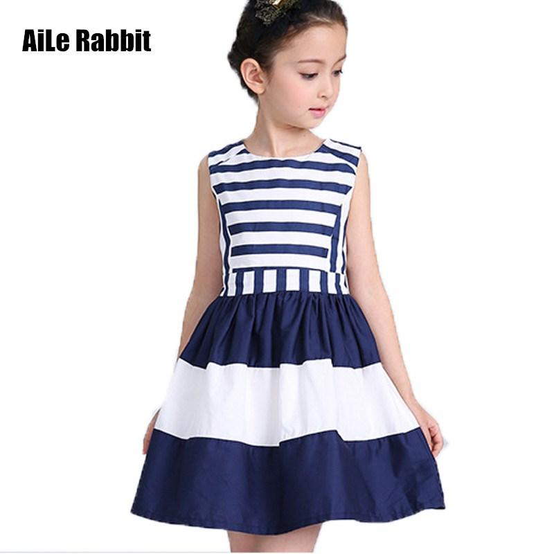 392f5f18b7be1 Sweet fashion new kids children clothing fashion style sleeveless girls  summer dress wind navy striped sling vest dresses