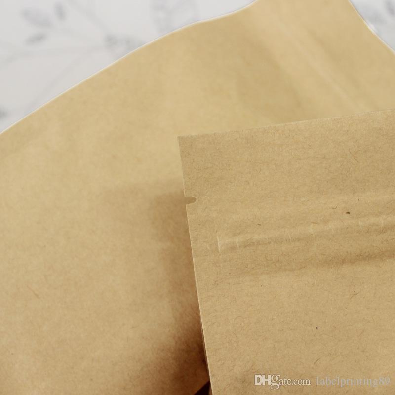 Papier kraft Huit bord d'étanchéité Sacs, Zip verrouillage Brown Aluminium Foil Thicken Emballage café, noix, grains de l'emballage alimentaire Pouches 6 Tailles disponibles