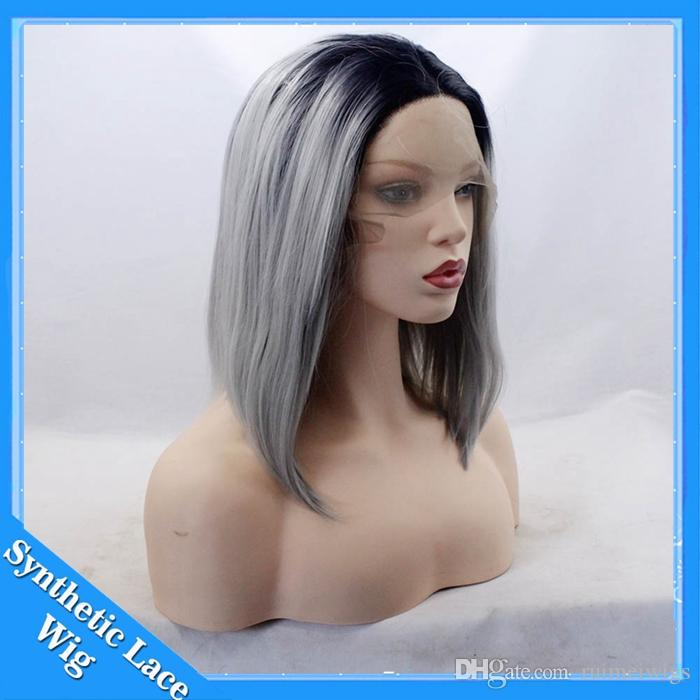 Short Wig Hair Ombre Silver Gray Wigs for Women Black to Grey Bob Straight Middle Part Front Lace Synthetic Wigs Cosplay Heat Resistant