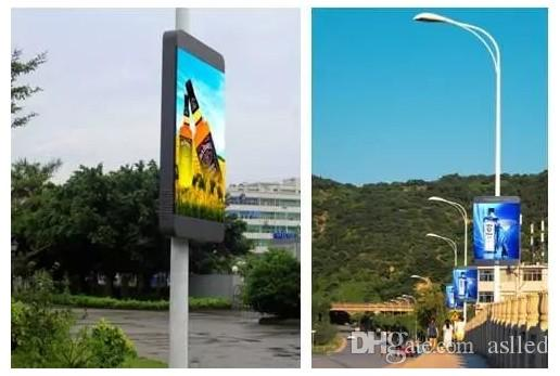Outdoor waterproof roadside Light pole advertising LED display screen p5 installed above the street light pole play video