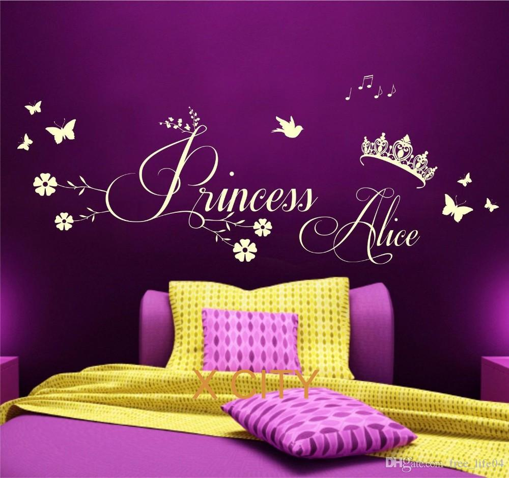 Princess Crown Personalised Name CHILDREN GIRL BEDROOM WALL ART STICKER  REMOVABLE VINYL TRANSFER DECAL HOME DECORATION S M L