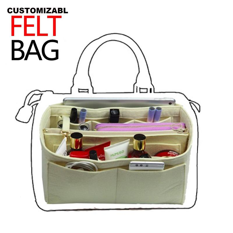 f23d94c6e2 Customizable Felt Purse Organizer Bag In Bag For Tote Handbag Speedy 25 30  35 40 Neverfull MM GM PM W Detachable Zip Pocket Makeup Bags And Cases  Rolling ...