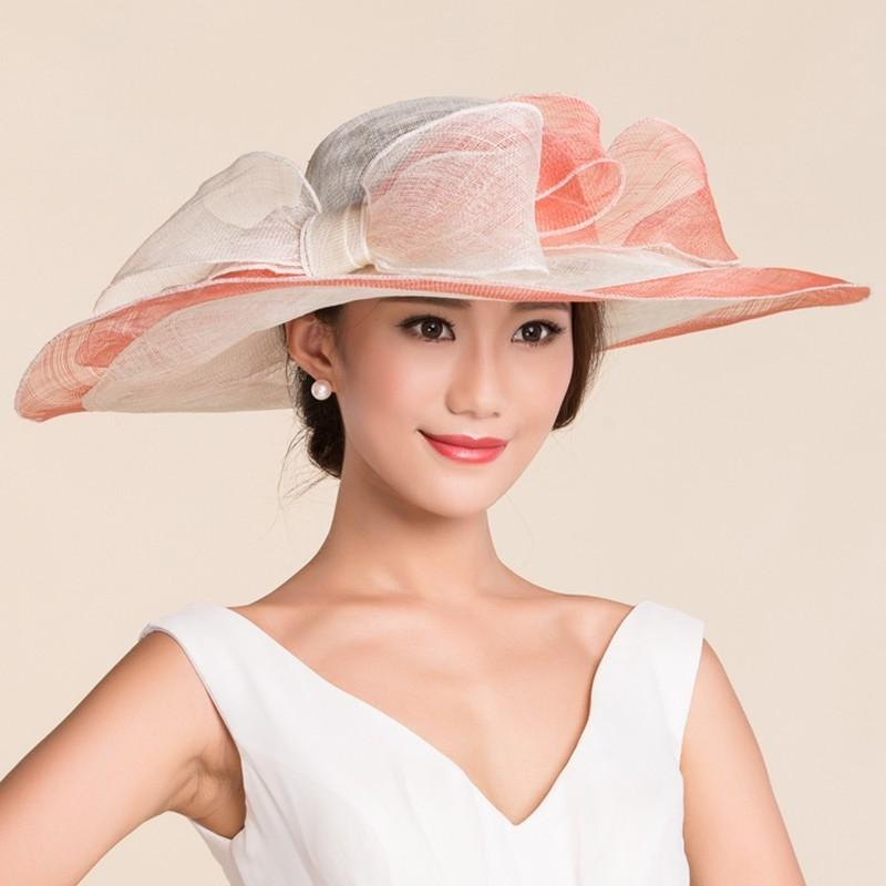 Lady Summer Banquet Fedora Hats Wide Brim Beach Hats Women Top ... a793529798eb