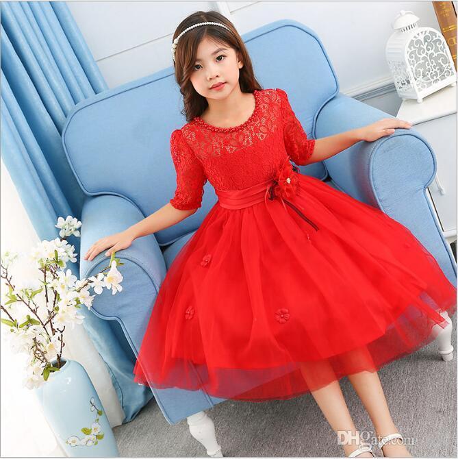 2f90d9710 Vestidos de fiesta de encaje para niñas, niños, modelo Imágenes, medias  mangas huecas, collar, cuello, fajín, flor, vestido europeo, talla 3-12 ...