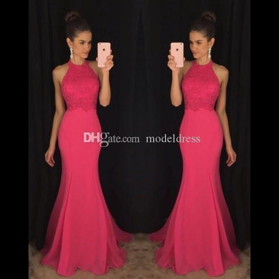 Modest Fuchsia Lace Prom Dresses 2019 Halter Backless Mermaid Floor Length Sexy Evening Party Gowns Vestidos De Fiesta Cheap Customized