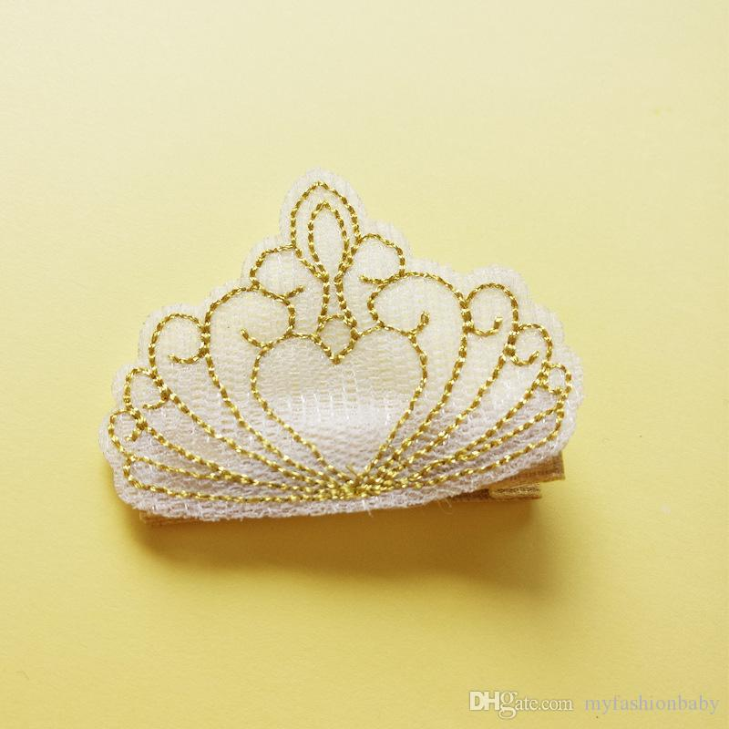 New Baby Embroidered Crown Girls Hair clips Kids Summer Style Hair Clips Cartoon Crown Cute Kids Hairpins