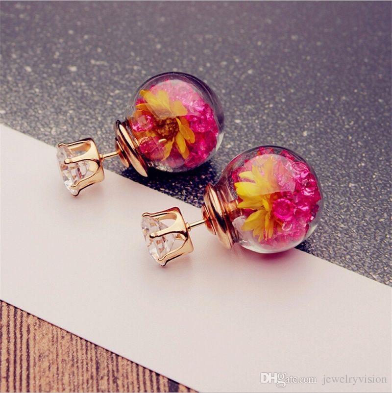 أقراط S35 الساخن أوروبا الأزياء والمجوهرات لطيف الكرة زجاج حجر الراين زهرة مسمار أقراط نسائية أنيقة