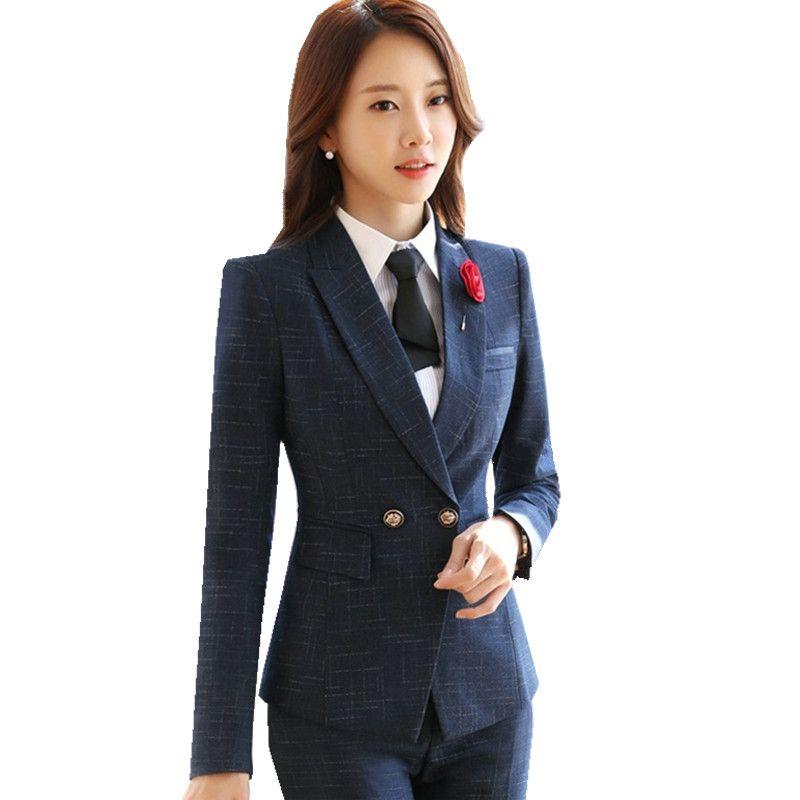 1d21e1eacef7 2018 Business Woman Pants Suit Winter Jacket Blazer+Long Trousers 2 Pieces  Blazer Pant Suit ow0414