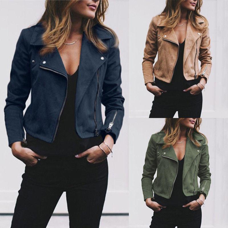 HIRIGIN Date Femmes Dames En Daim Court En Cuir Veste Vol Slim Zipper Manteau Zip Up Biker Casual Automne Vêtements