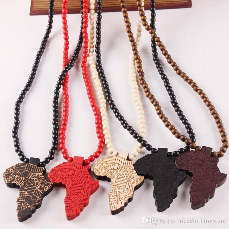 Fashion Wood Made Stylish Africa Map Pendant Hip Hop Beads Long Chain Men Wooden Pendants Necklaces Jewelry Gift