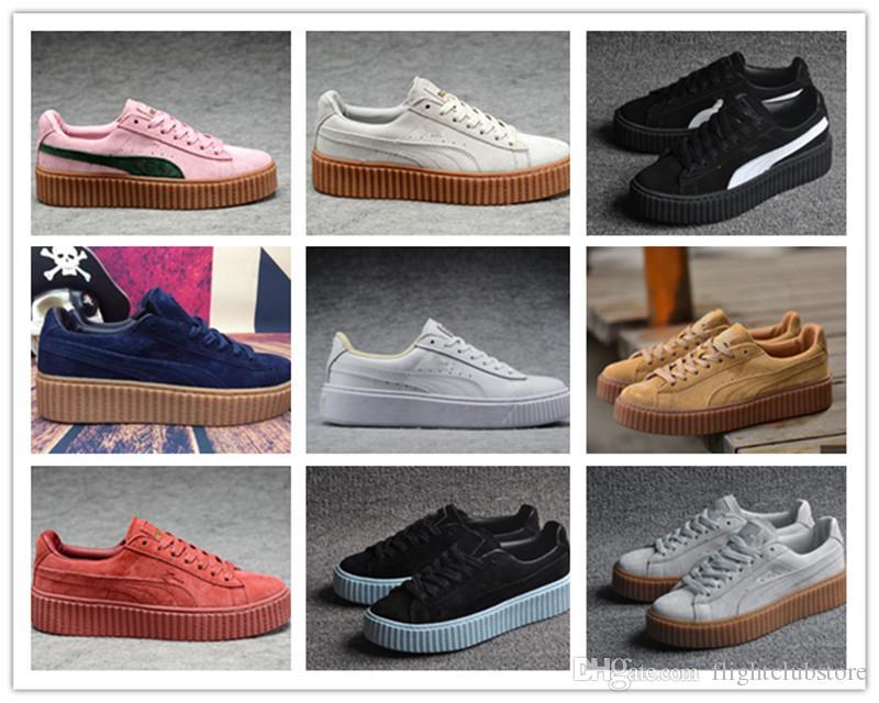 25c07565251 Acheter 2018 Nouvelle Arrivée Rihanna Suede Creepers Chaussures Femmes Et  Hommes Respirant Chaussures De Badminton Sneakers Taille 36 44 De  87.31 Du  ...