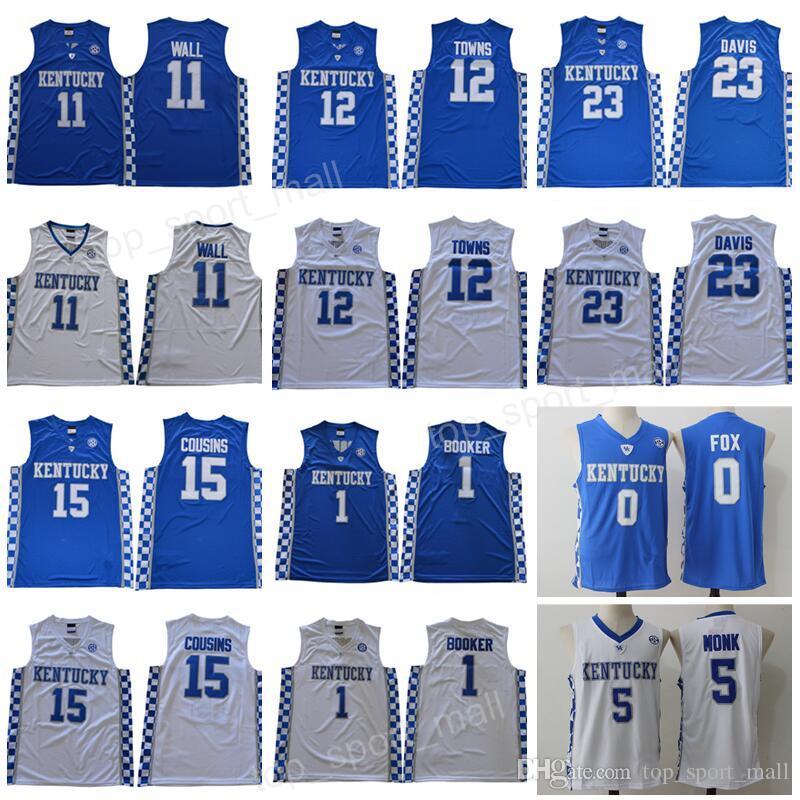 2019 Kentucky Wildcats Jersey College Basketball Devin Booker John Wall  Anthony Davis Karl Anthony Towns DeMarcus Cousins Malik Monk Fox Blue Men  From ... f89d06f04