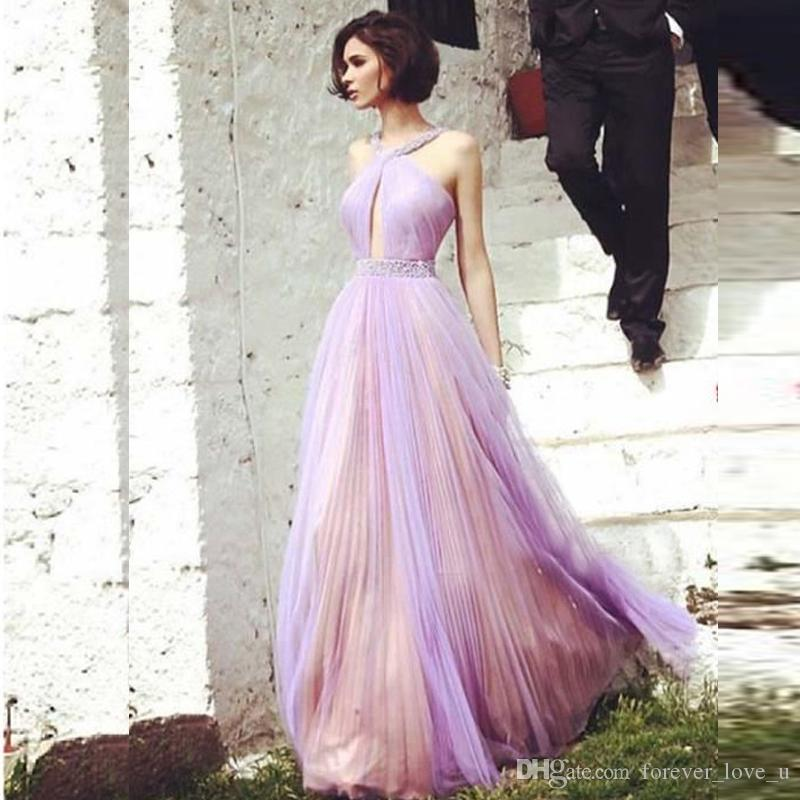 b5ef58434c2 Elegant Champagne Lavender Evening Dresses Beaded Halter Neck Belt  Sleeveless Ruched Tulle Cut Out Design Sexy Prom Gowns Floor Length Evening  Maxi Dress ...