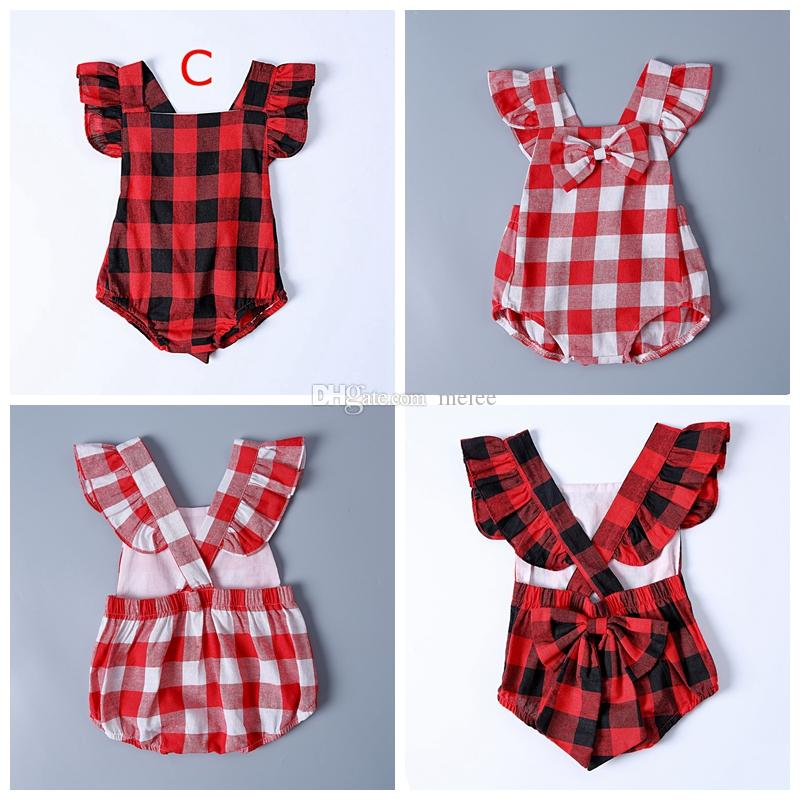 12bbad6c2f6c 2019 NEW Xmas Christmas Kids Buffalo Plaid Cotton Rompers Baby Girls Boho  Bodysuit Summer Clothes Outfits Red Black Plaid Jumpsuits 0 2Y From Melee,  ...