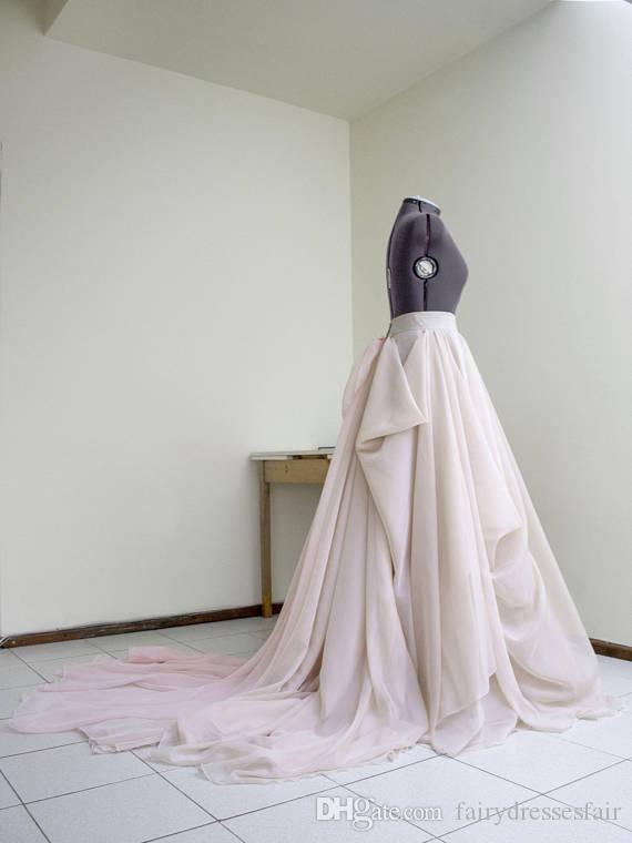 Discount Blush Wedding Skirt With Train Nude Bridal Dress Pink Train ...