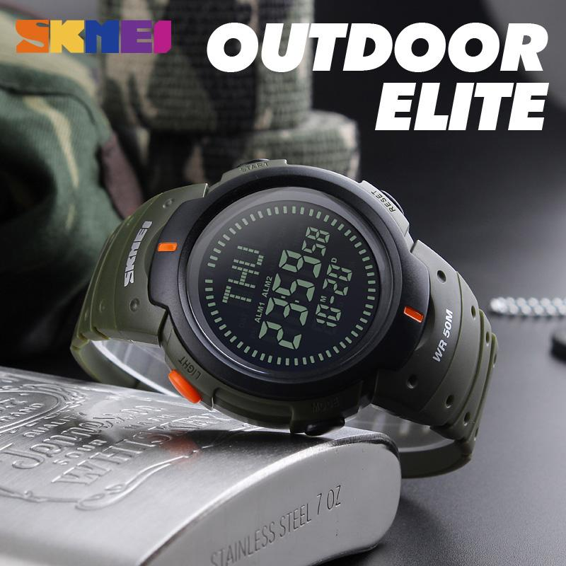 Digital Watches Skmei Men Sports Watches Compass Chronograph Hiking Led Digital Electronic Outdoor Wristwatches Relogio Masculino Man Clock 1231