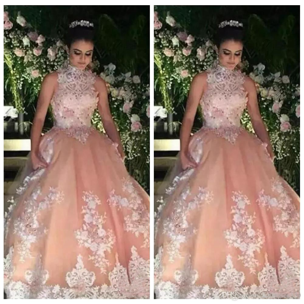 12d99cfb4c 2019 Prom Evening Dress Ball Gown High Neck Sleeveless Organza Applique  Lace Floor Length Beads Party Pageant Formal Dress Evening Gown Dresses For  Special ...