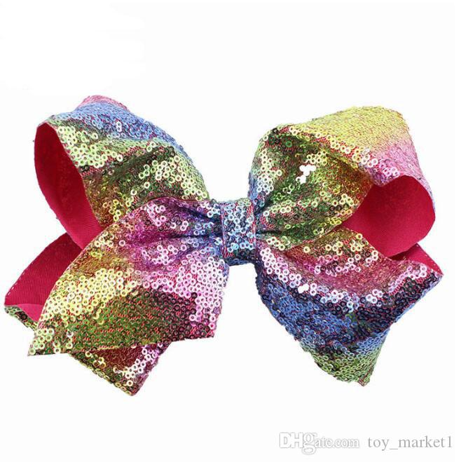 10cm Rhinestone Hair Bow Jojo Bows With Clip For School Baby Children Large Sequin Bow Unicorn Bow Mermaid 10 Style For valentines