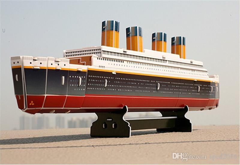 3d puzzles titanic navio diy modelo de papel crianças presentes criativos crianças brinquedos educativos versão ordinária