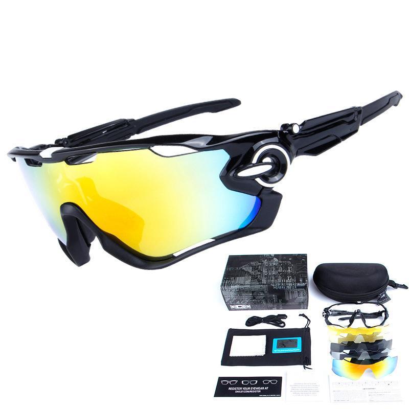 eeeb3a56a341f Compre Ciclismo Eyewear Cinco Peças Lentes Lentes Polarizadas Miopia Óculos  De Equitação Óculos De Proteção À Prova De Vento UV Proteção Esporte Peixe  HD ...