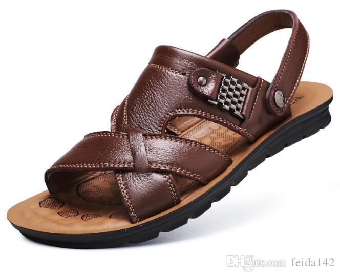 cd2446c9 Compre Sandalias Para Hombre 2018 De Primavera, Marea Para Hombre, Zapatos  De Playa De Cuero Genuino, Zapatillas Con Código Grande Y Casual W533 A  $27.44 ...