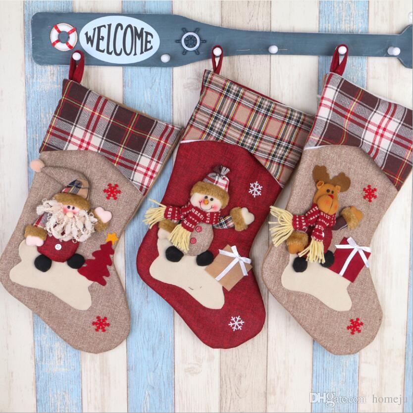 new christmas decorations large wine red khaki old christmas stockings christmas supplies window decoration gift bag christmas ornaments sale online - Old Christmas Decorations