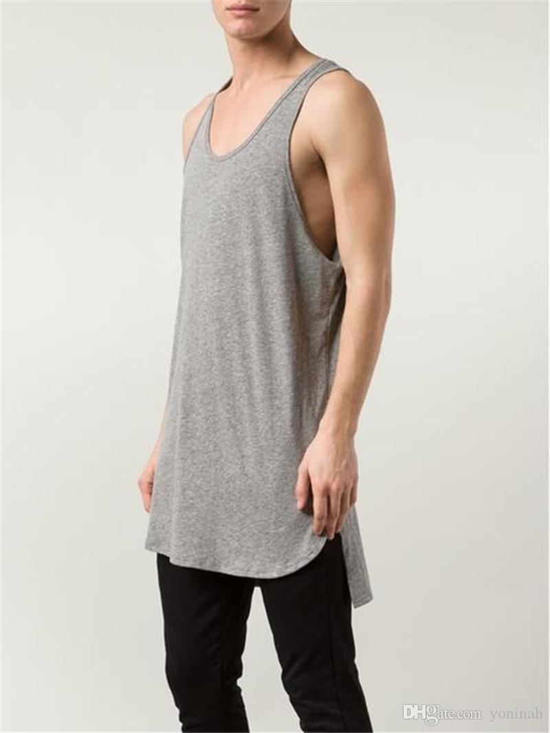 22a210b2 Wholesale Mens Sleeveless T Shirts Summer Cotton Tank Tops Split  Bodybuilding Undershirt Fitness Hip Hop Extrend Tee Make A Tee Shirt  Funniest T Shirts From ...