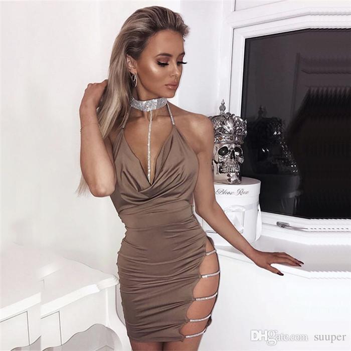 Diamants Halter Dos Nu Robe D'été Femmes À L'épaule Sans Manches Évider Sexy Mini Robe Club Robe De Soirée Femme